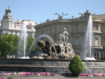 Plaza de Cibeles, featuring 18thCentury Fuente de Cibeles (with Cybele, the Roman-Greco Goddess of Nature being pulled by a pair of lions)