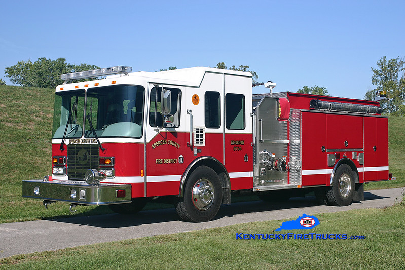 <center> Spencer County Engine 5734  <br> 2007 HME/Ferrara Intruder 2 1250/1000/30 <br> Kent Parrish photo </center>