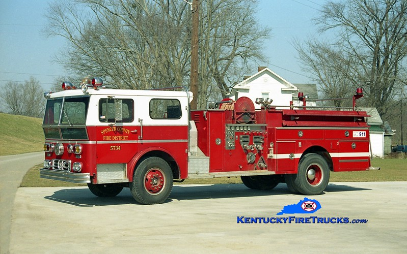 <center> RETIRED  <br> Spencer County Engine 5734  <br> x-St Mary's, OH <br> 1972 Ward LaFrance Ambassador 1000/500  <br> Kent Parrish photo </center>