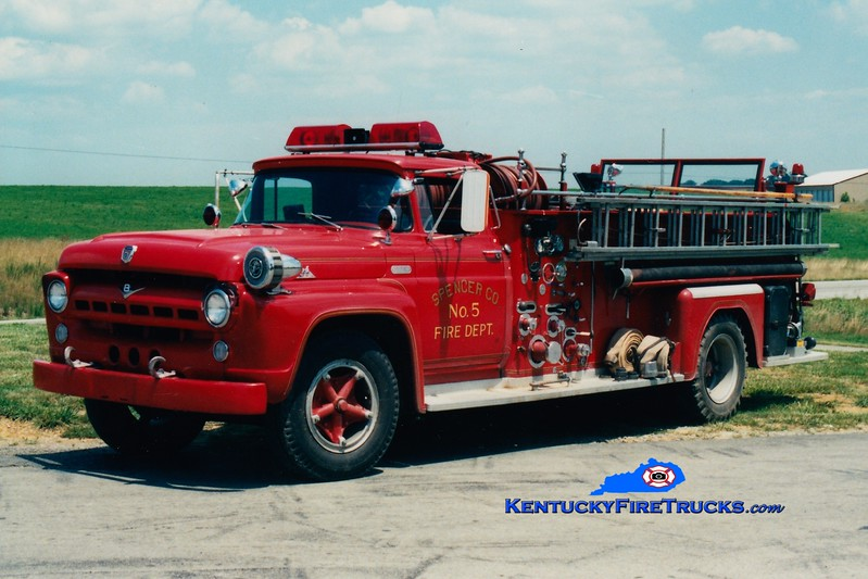 <center> RETIRED <br> Spencer County Engine 5725  <br> x-Buechel, KY <br> 1957 Ford F-750/Oren 750/500 <br> Greg Stapleton photo </center>