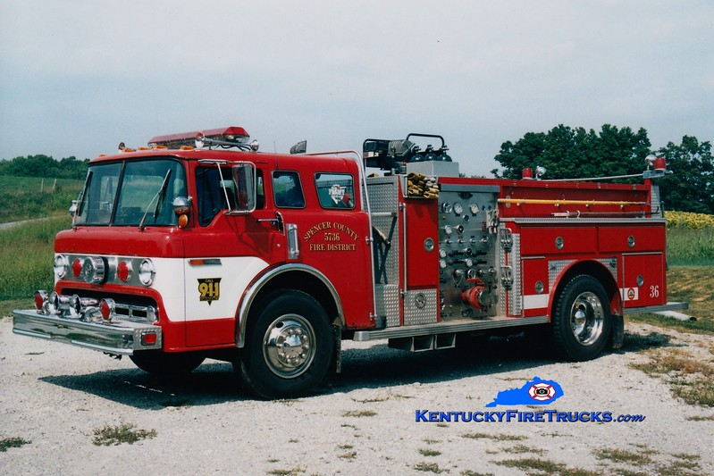 <center> RETIRED <br> Spencer County Engine 3736  <br> x-Colerain Twp, OH <br> 1977 Ford C/E-One 1000/750 <br> Greg Stapleton photo </center>