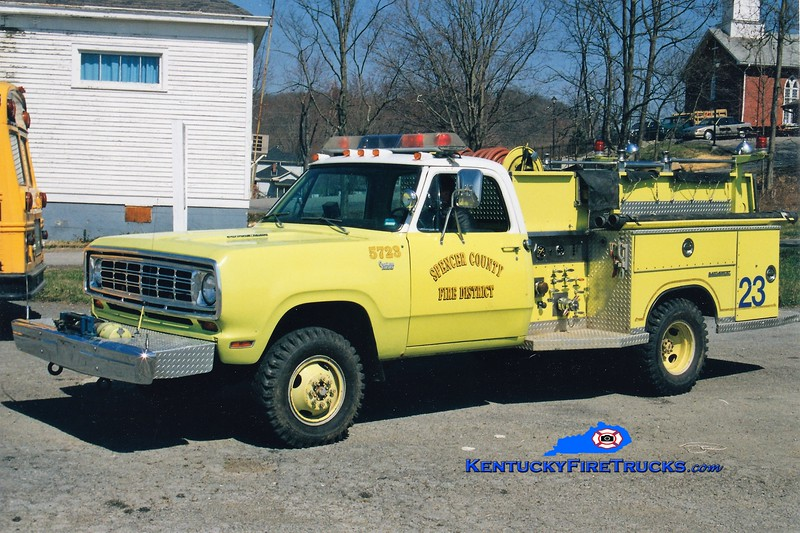RETIRED<br /> Spencer County Engine 5723<br /> x-Jeffersontown, KY<br /> 1975 Dodge W300 4x4/Saulsbury 400/250<br /> Greg Stapleton photo