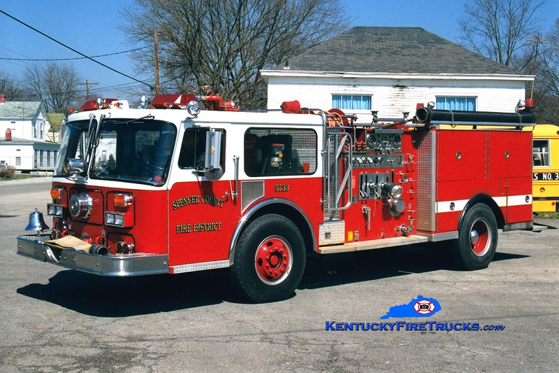 <center> RETIRED <br> Spencer County Engine 5733  <br> x-Park Ridge, IL <br> 1979 Seagrave WB 1250/500 <br> Greg Stapleton photo </center>