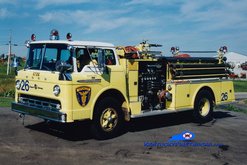 <center> RETIRED <br> Spencer County Engine 5726 <br> x-Jeffersontown, KY <br> 1961 Ford C-850/American 750/750  <br> Greg Stapleton photo </center>