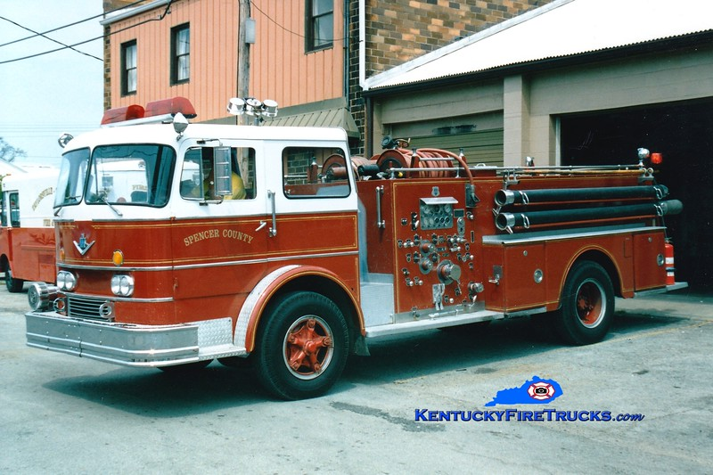 <center> RETIRED <br> Spencer County Engine 5721  <br> x-Lake Dreamland, KY <br> 1963 International CO-8190/Howe 1000/500 <br> Greg Stapleton photo </center>