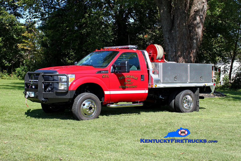 <center> Taylorsville-Spencer County Brush 5771  <br> 2014 Ford F-350 4x4/2000 CET 250/250 <br> *Skid from Utility 5791 <br> Kent Parrish photo </center>
