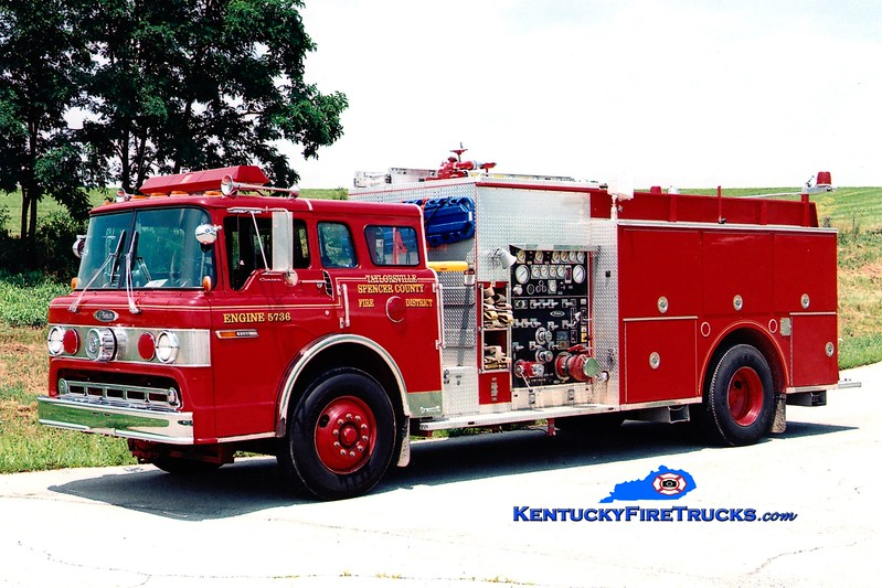 <center> Taylorsville-Spencer County Engine 5736  <br> x-Anchorage, KY <br> 1991 Ford C-8000/Pierce 1250/500 <br> Greg Stapleton photo </center>