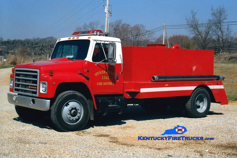 <center> Taylorsville-Spencer County Tanker 5763  <br> 1988 International S-1900/Cleveland 0/1800  <br> Greg Stapleton photo </center>