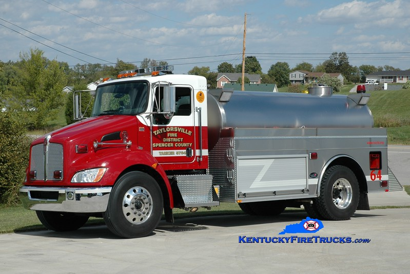 <center> Taylorsville-Spencer County Tanker 5764  <br> 2009 Kenworth T-370/Bluegrass 400/2250 <br> Greg Stapleton photo </center>