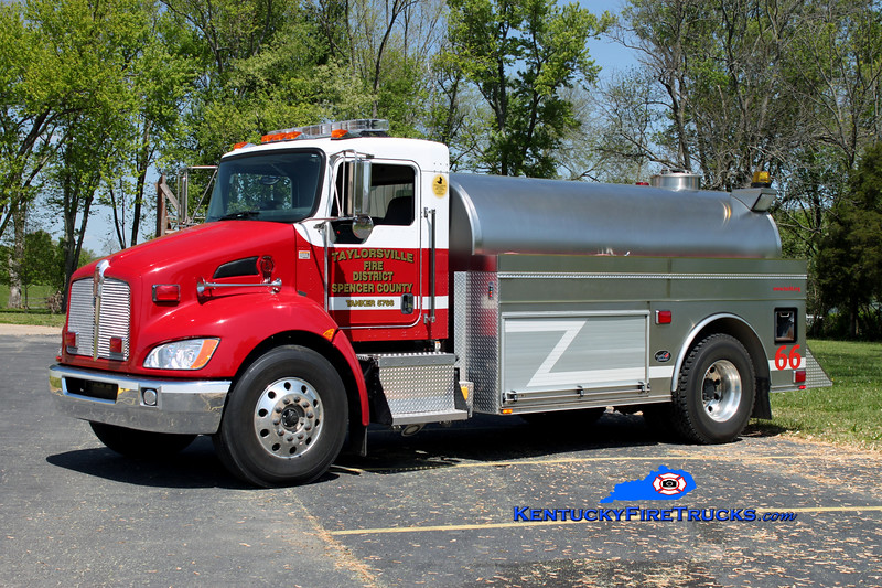 <center> Taylorsville-Spencer County Tanker 5766  <br> 2008 Kenworth T-370/Bluegrass 400/2250 <br> Kent Parrish photo </center>