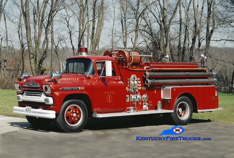 <center> PRIVATELY OWNED <br> Taylorsville Engine 1 <br> 1959 Chevy 50/Seagrave 500/500 <br> Kent Parrish photo </center>