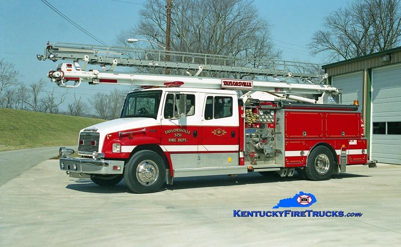 <center> RETIRED <br> Taylorsville Squrt 5751  <br> x-Midway, NC <br> 1992 Freightliner FL80/Boardman 1250/500/50' Apache  <br> Kent Parrish photo </center>