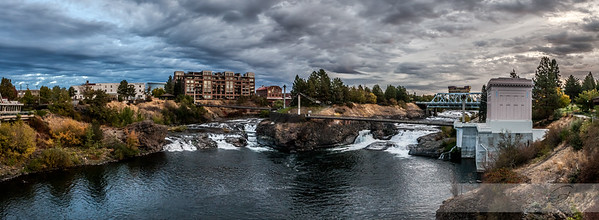 Spokane River falls at sunrise, Spokane Washington