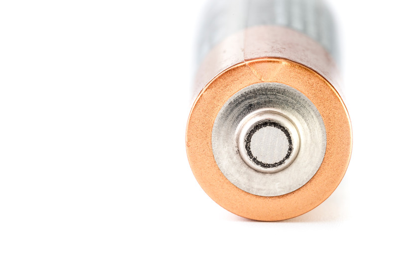 Closeup of AA Batteries Positive Side