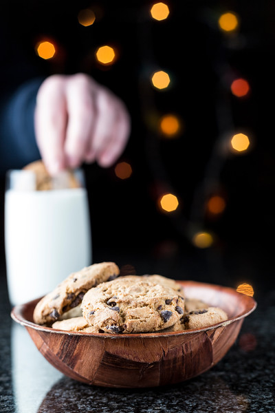 Bowl of Cookies with Milk in the Background