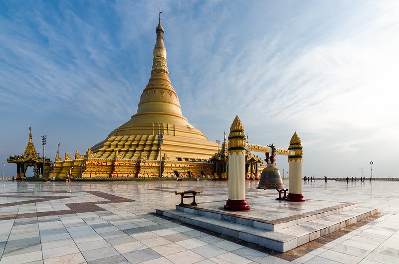 A near-perfect copy of Yangon's Shwedagon Pagoda, the Uppatasanti Pagoda was completed in 2009 as part of Myanmar's vast planned city at Naypyidaw.