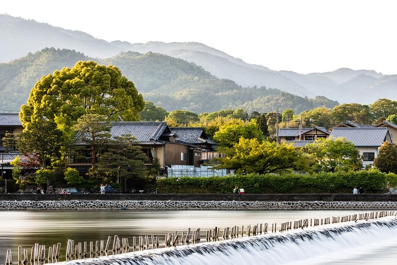 Evening settles on Kyoto's Arashiyama district.