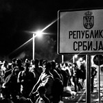 Refugees wait to cross into Hungary from the Serbian town of Horgos on the night of September 14, 2015, just hours before the Hungarian state sealed the border and criminalised irregular migration.