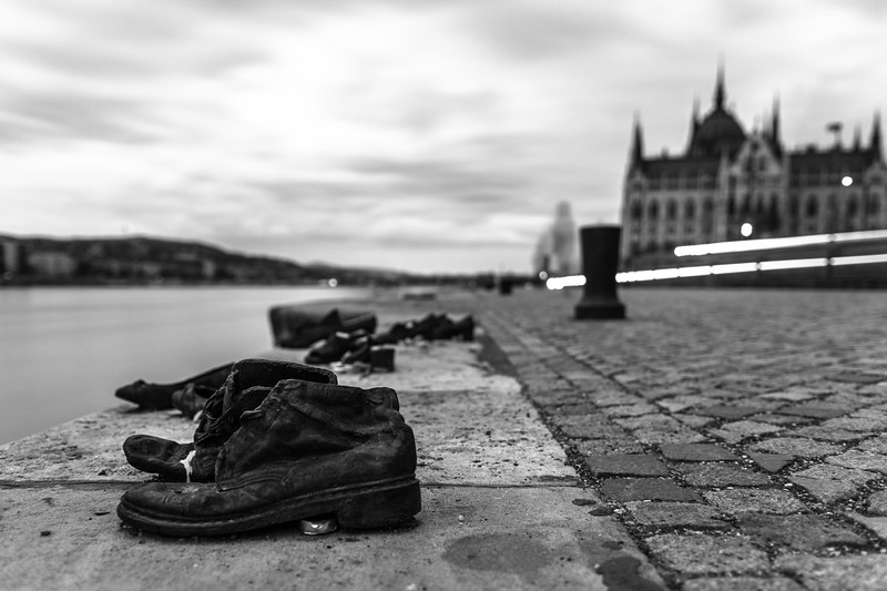 """Can Togay's """"Shoes on the Danube Bank"""" sits just south of Budapest's parliament building, dedicated to the 3,500 people shot into the Danube by Hungary's Arrow Cross party between 1944 and 1945."""