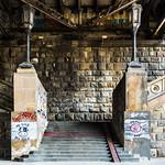 Vegan graffiti lay claim to twin pillars beneath a Belgrade bridge.