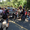 PANTUKAN. More than a thousand small-scale miners barricaded the Kingking Bridge in Pantukan, Compostela Valley Thursday in protest to what they claimed is the local government's inaction on their demand to bar large-scale mining operation in their town. (Ben O. Tesiorna)