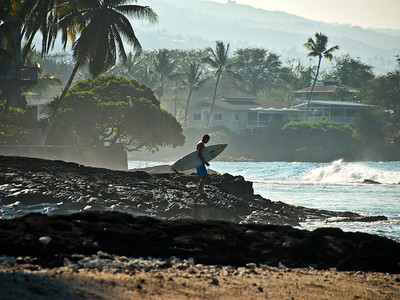 Morning surf at Banyons in Kailua-Kona. Big Island Hawaii, January 2012.