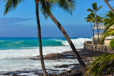 WNW swell of January 22, 2015. Hale with a front seat view at Magic Sands. Kailua-Kona, Hawaii.