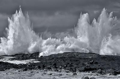 Explosive liquid impact. Keahuolu Point, Hawaii island.