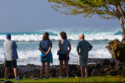 WNW swell of January 22, 2015. Awestruck tourists watching big waves at Living Stones church (Banyans). Kailua-Kona, Hawaii.