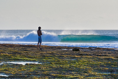 """Andy checking out small but hollow T-Land wave"" Nembrala, Rote Is., Indonesia. September 2014"
