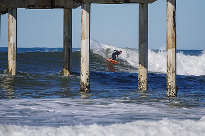 Retro Ocean Beach Pier Surfing