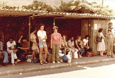 Bus stop to Eilat in Tel Aviv