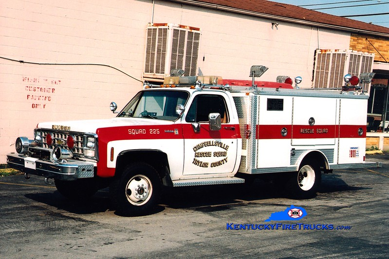 <center> RETIRED <br> Campbellsville-Taylor County Rescue Squad 225 <br> 1979 Chevy 4x4/E-One <br> Greg Stapleton photo </center>