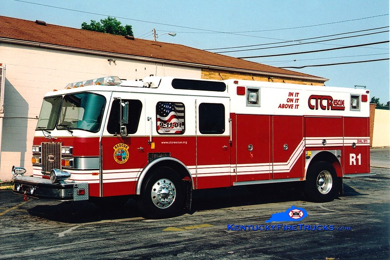 <center> RETIRED <br> Campbellsville-Taylor County Rescue 1 <br> x-Worthington (Jefferson County), KY <br> 1992 E-One Protector TC  <br> Greg Stapleton photo </center>