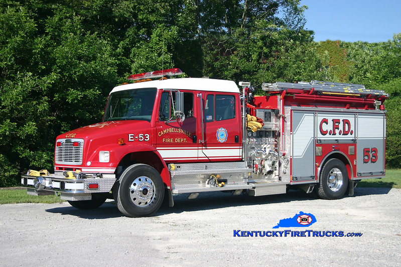 <center> Campbellsville  Engine 2 <br> Formerly Engine 53 <br> 2003 Freightliner FL80/Pierce 1250/1000<br> Kent Parrish photo </center>