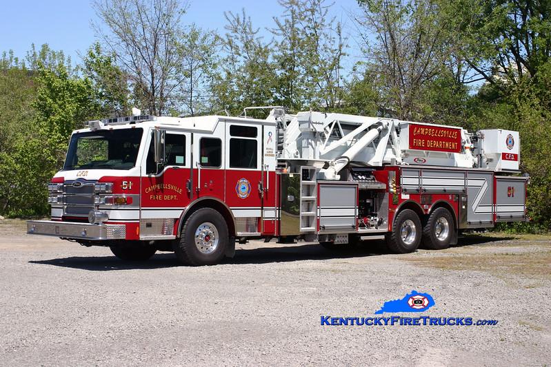 <center> RETIRED <br> Campbellsville  Tower 51 <br> 2009 Pierce Velocity 2000/0/95' <br> Kent Parrish photo </center>