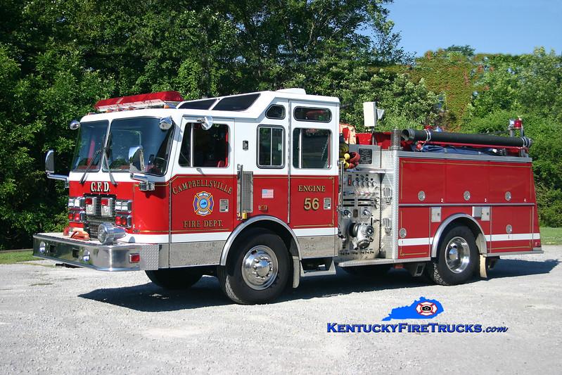 <center> Campbellsville  Engine 3 <br> Formerly Engine 56 <br> 1992 KME Renegade 1500/1000 <br> Kent Parrish photo </center>