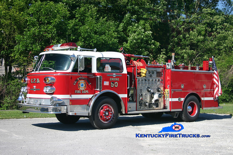 <center> RETIRED <br> Campbellsville  Engine 50 <br> 1981 American LaFrance Century 1500/500<br> Kent Parrish photo </center>