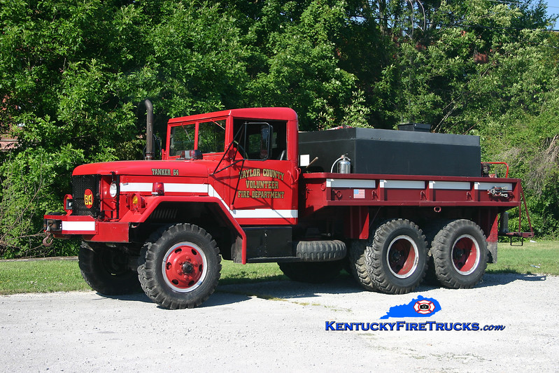 <center> Taylor County Tanker 64 <br> 1973 AM General M35/Poly Tank 250/1200 <br> Kent Parrish photo </center>