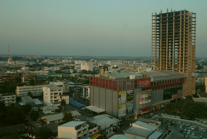 view of Khon Kaen from Pullman Hotel.  All I cared about at this point was sleeping in a real bed.