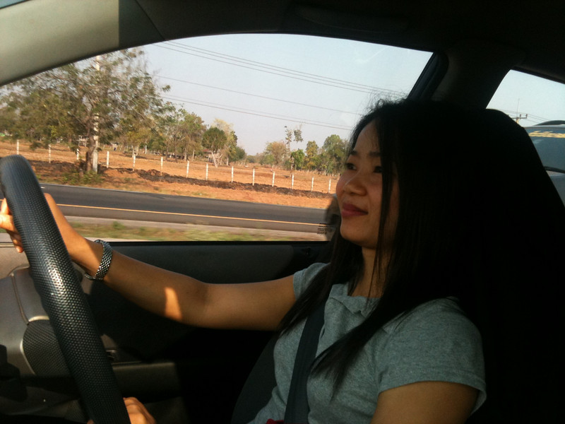Id driving from Khon Kaen to her home, about 100 km away
