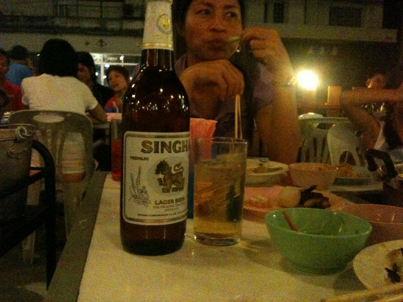 my first Singha beer, served traditionally on ice.  Good beer.