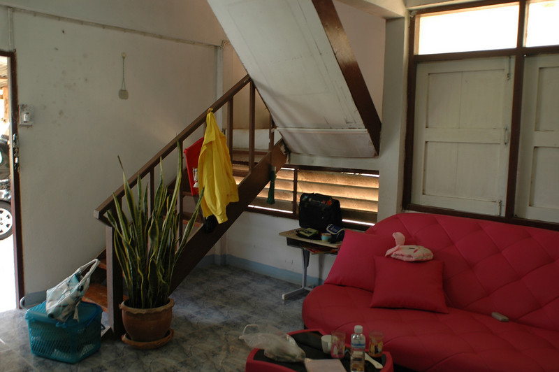 living room and stairway to bedrooms
