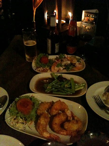 Dinner at the Remark was a delicious serving of Shimp Tempura, grilled asparagus, and spicy Thai seafood salad