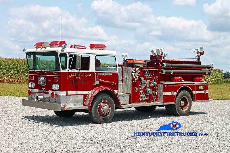 <center> Allensville  Engine 203 <br> x-Springfield, TN <br> 1975 American LaFrance Pioneer II 1000/500 <br> Kent Parrish photo </center>