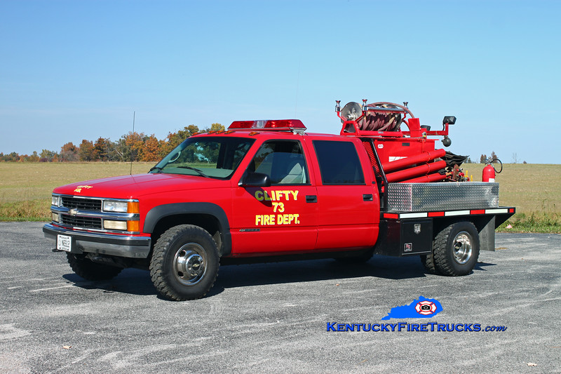<center> Clifty Brush 73  <br> 1999 Chevy 3500 4x4/Shelby Truck/Mertz 250/300 <br> Kent Parrish photo </center>