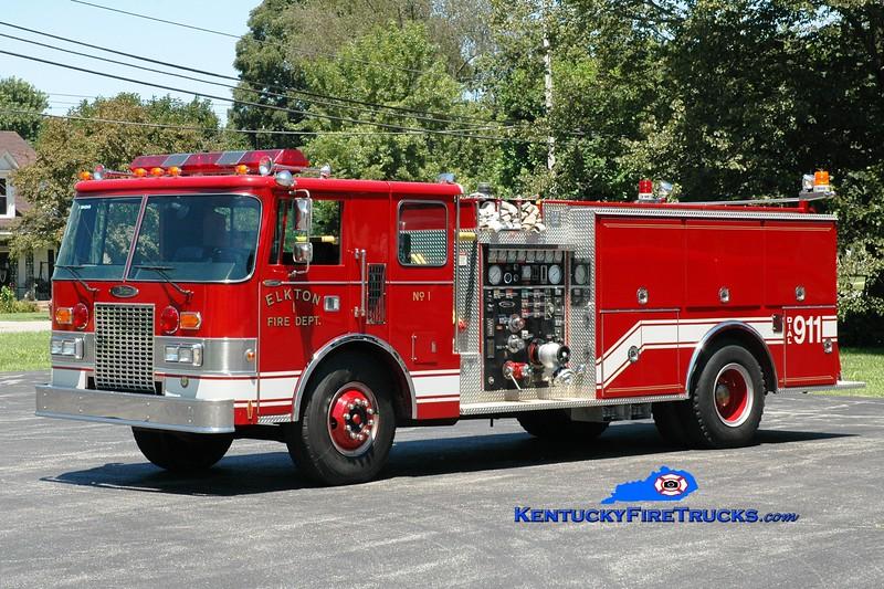 <center> Elkton  Engine 1  <br> x-Bedford Twp, MI <br> 1987 Pierce Lance 1250/1000 <br> Greg Stapleton photo </center>