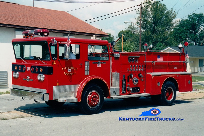 <center> Guthrie  Engine 14  <br> 1977 American LaFrance Pioneer III 1000/750  <br> Greg Stapleton photo </center>
