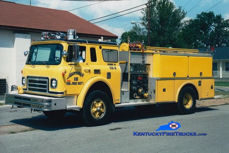 <center> RETIRED <br> Guthrie  Engine 15  <br> x-Benedict, MD <br> 1974 International CO/Pierce 750/1000  <br> Greg Stapleton photo </center>