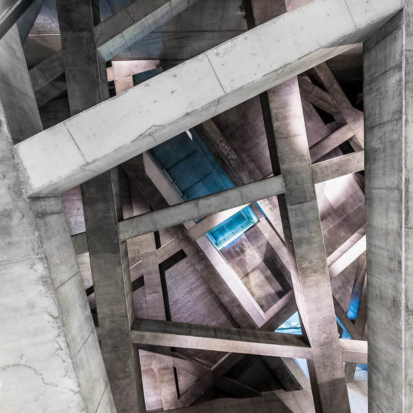 Concrete beams interlock above the Metro 4 station at Budapest's Fővám tér.